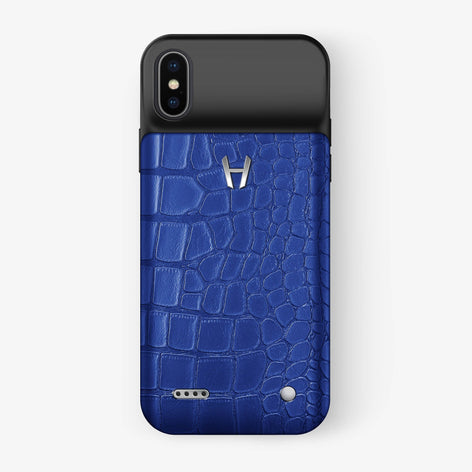 Alligator Battery Case iPhone X/Xs | Peony Blue - Stainless Steel - Hadoro