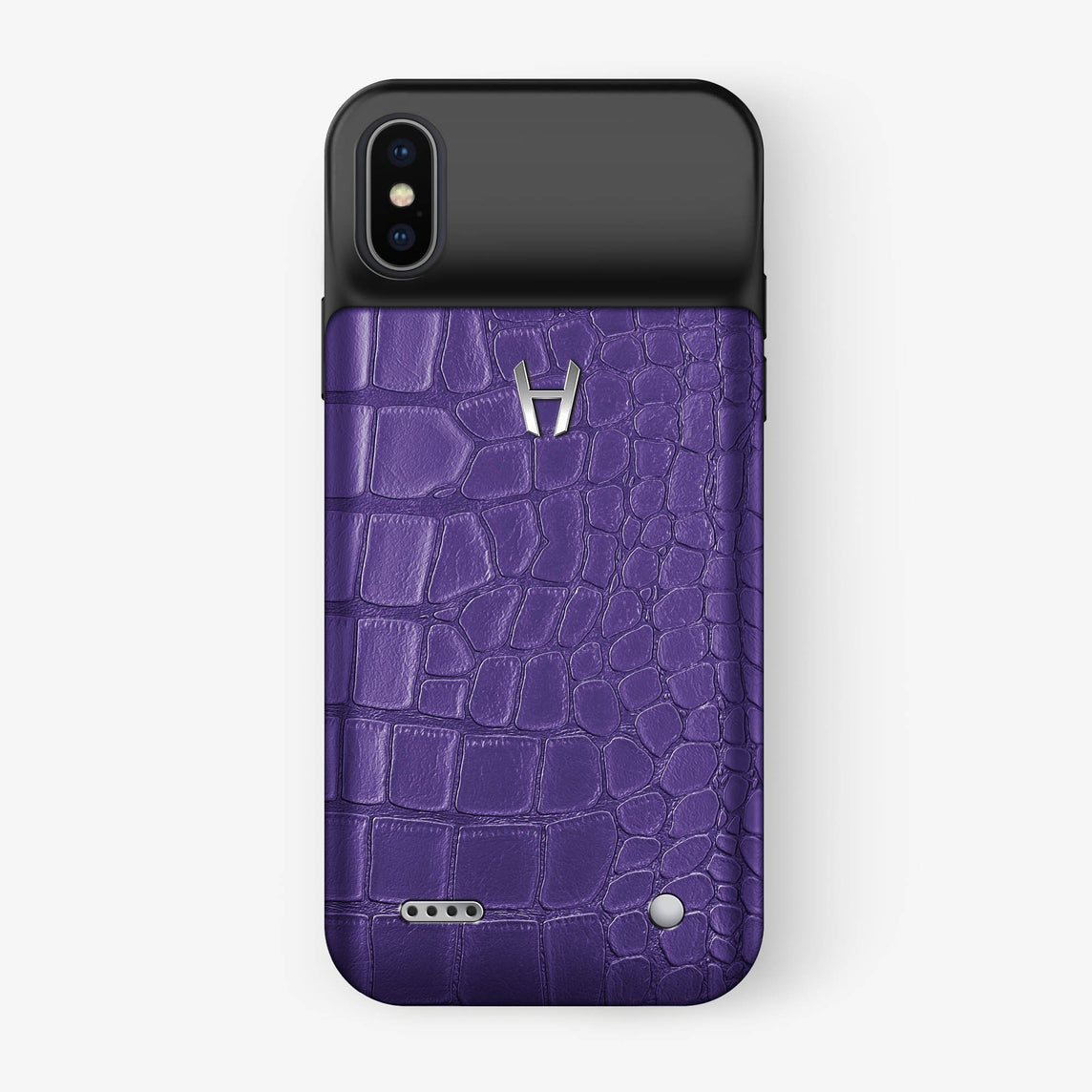 Alligator Battery Case iPhone X/Xs | Purple - Stainless Steel - Hadoro
