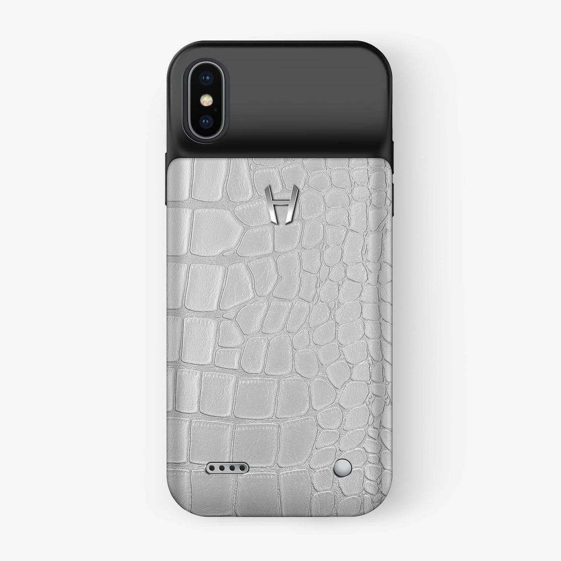 Alligator Battery Case iPhone X/Xs | White - Stainless Steel - Hadoro