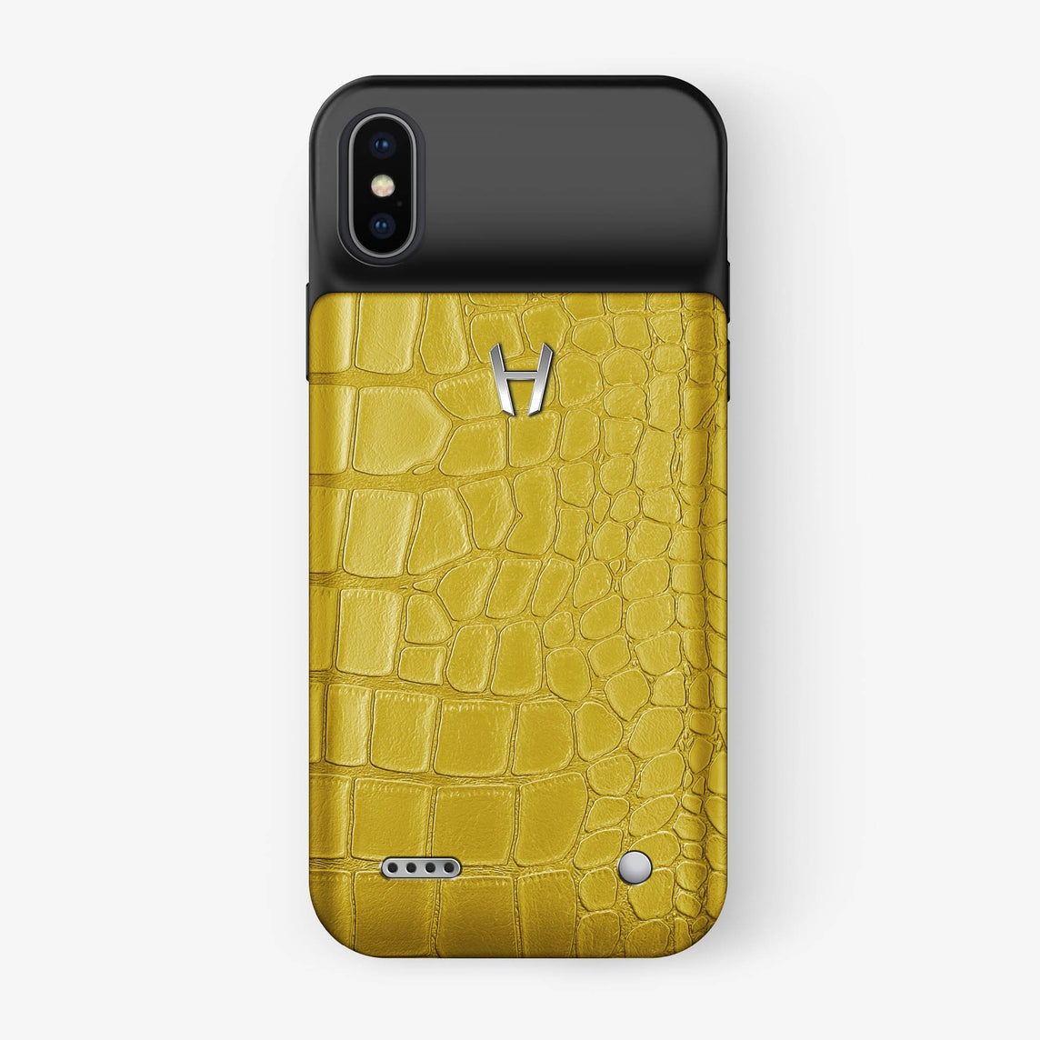 Alligator Battery Case iPhone X/Xs | Yellow - Stainless Steel - Hadoro