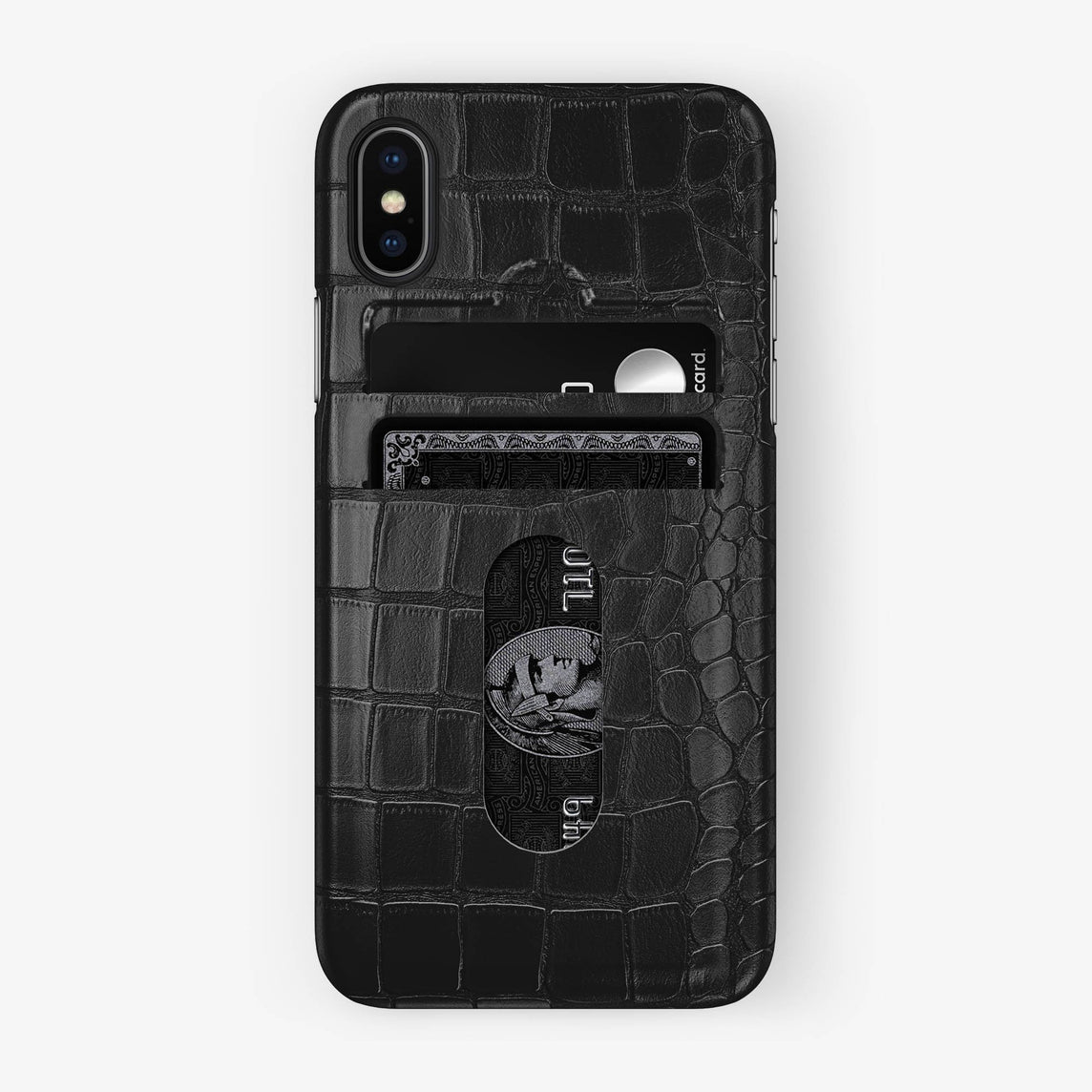 Alligator Card Holder Case iPhone X/Xs | Black - Black with-personalization
