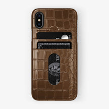Alligator Card Holder Case iPhone X/Xs | Brown - Black - Hadoro