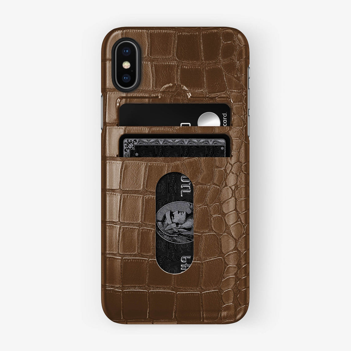 Alligator Card Holder Case iPhone X/Xs | Brown - Black with-personalization