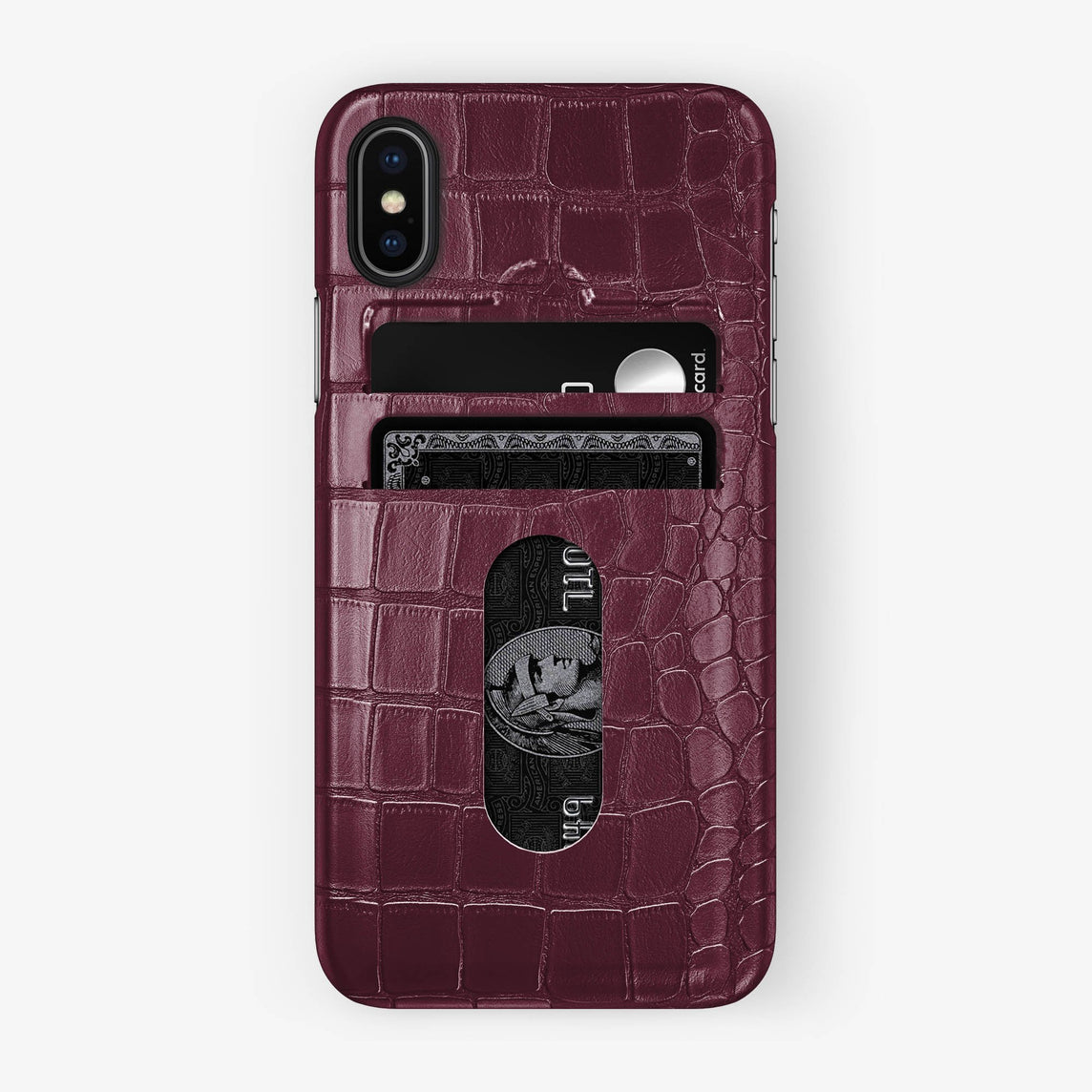 Alligator Card Holder Case iPhone X/Xs | Burgundy - Black - Hadoro
