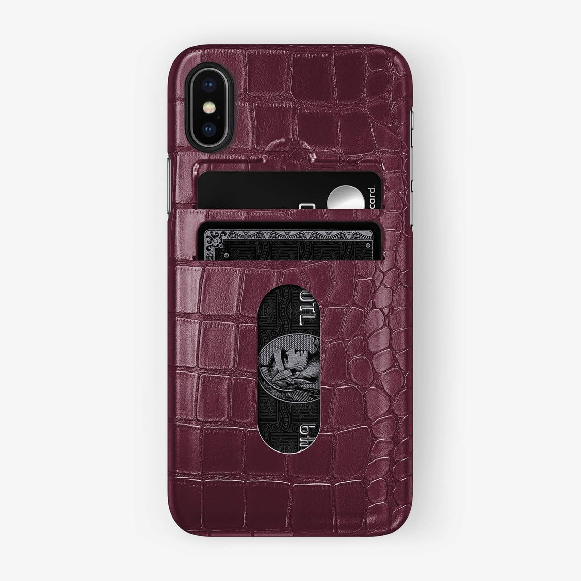 Alligator Card Holder Case iPhone Xs Max | Burgundy - Black - Hadoro