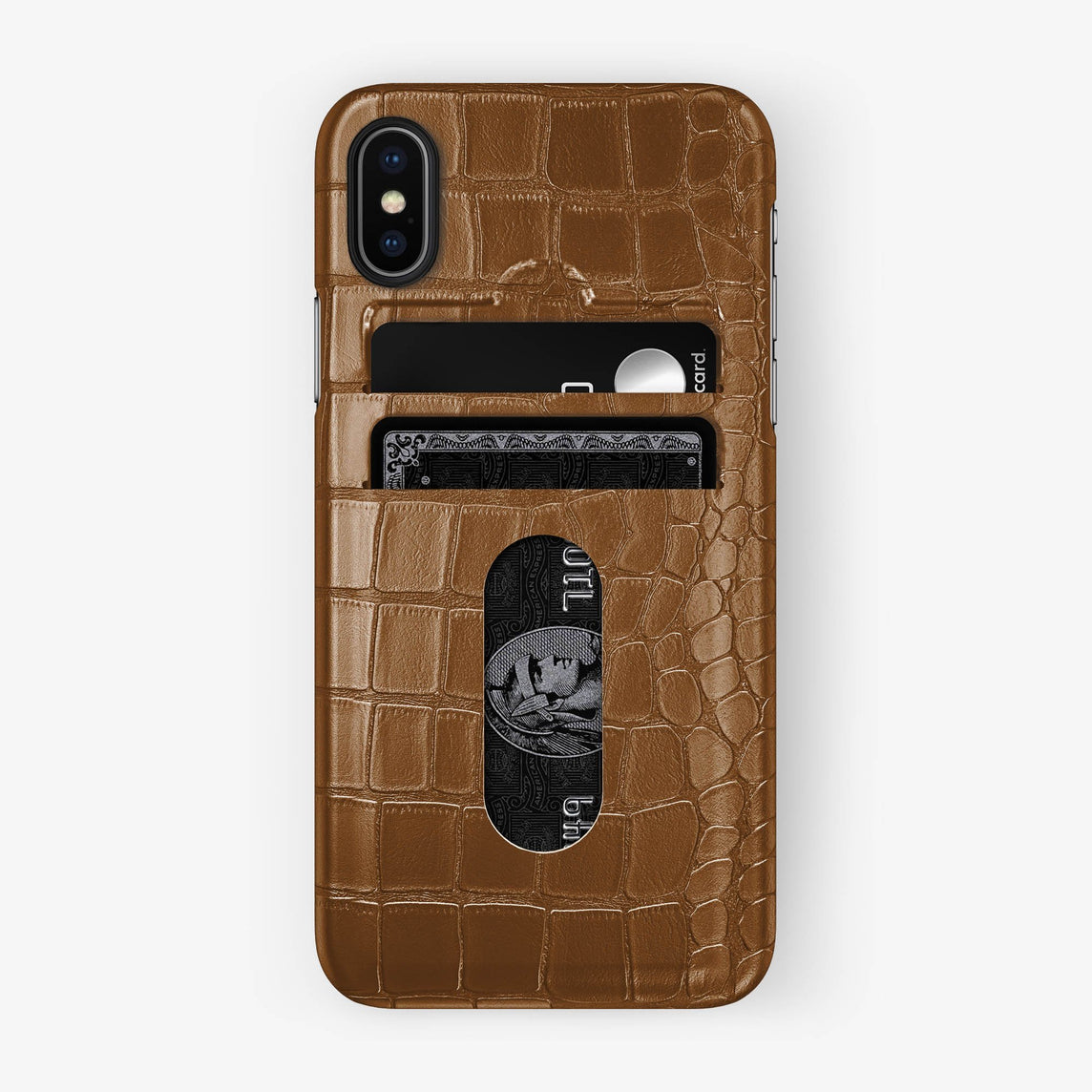 Alligator Card Holder Case iPhone X/Xs | Cognac - Black with-personalization