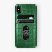 Alligator Card Holder Case iPhone X/Xs | Green - Black without-personalization