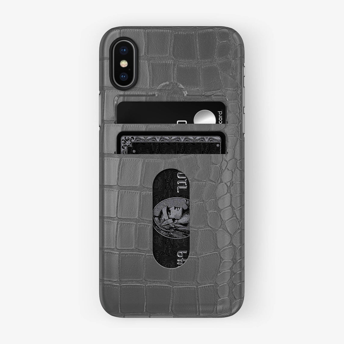 Alligator Card Holder Case iPhone X/Xs | Grey - Black - Hadoro
