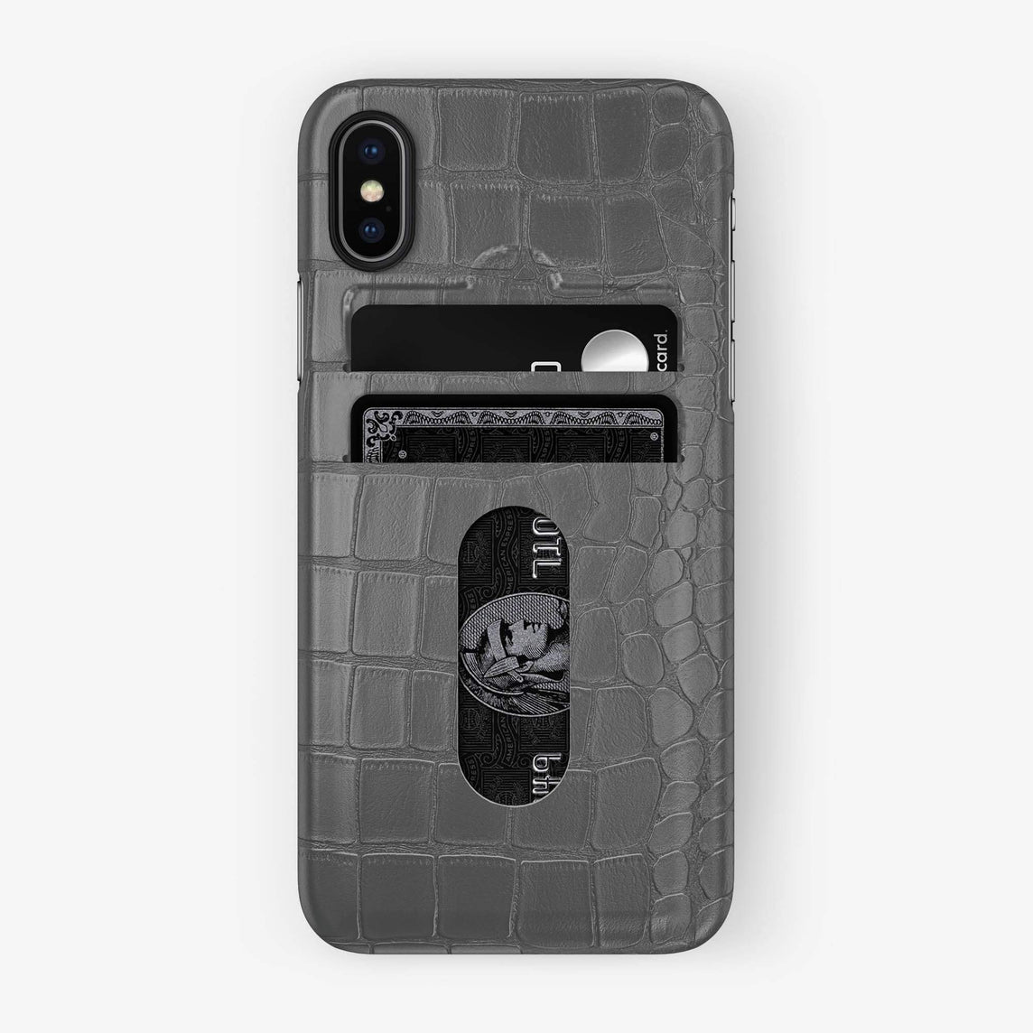 Alligator Card Holder Case iPhone Xs Max | Grey - Black - Hadoro