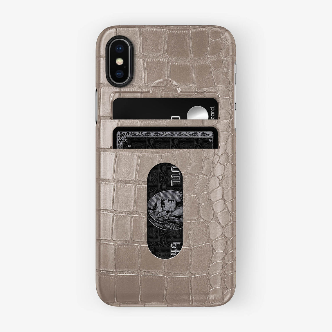 Alligator Card Holder Case iPhone X/Xs | Latte - Black with-personalization