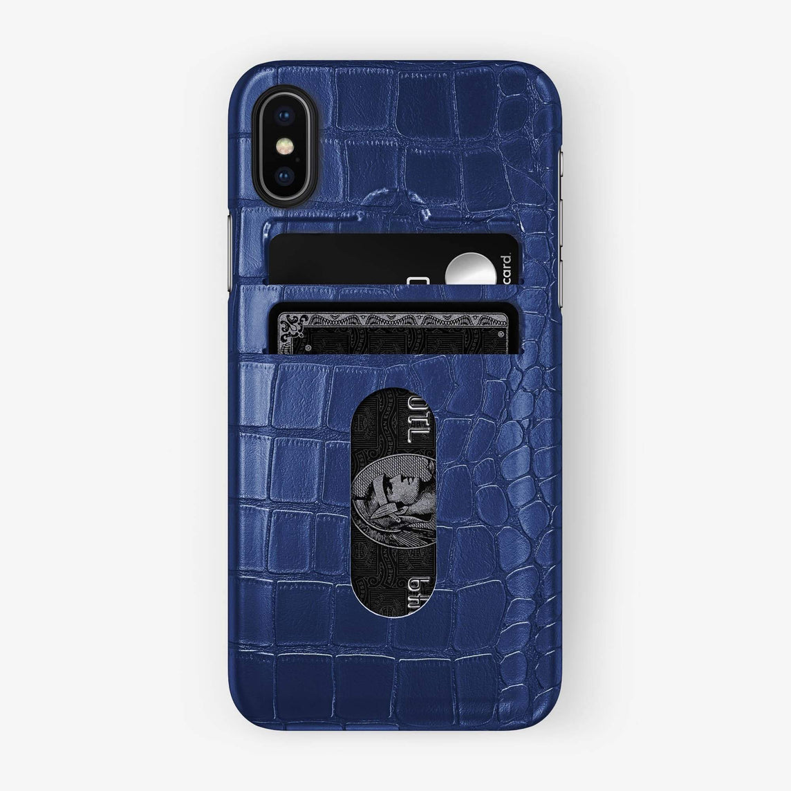Alligator Card Holder Case iPhone Xs Max | Navy Blue - Black - Hadoro