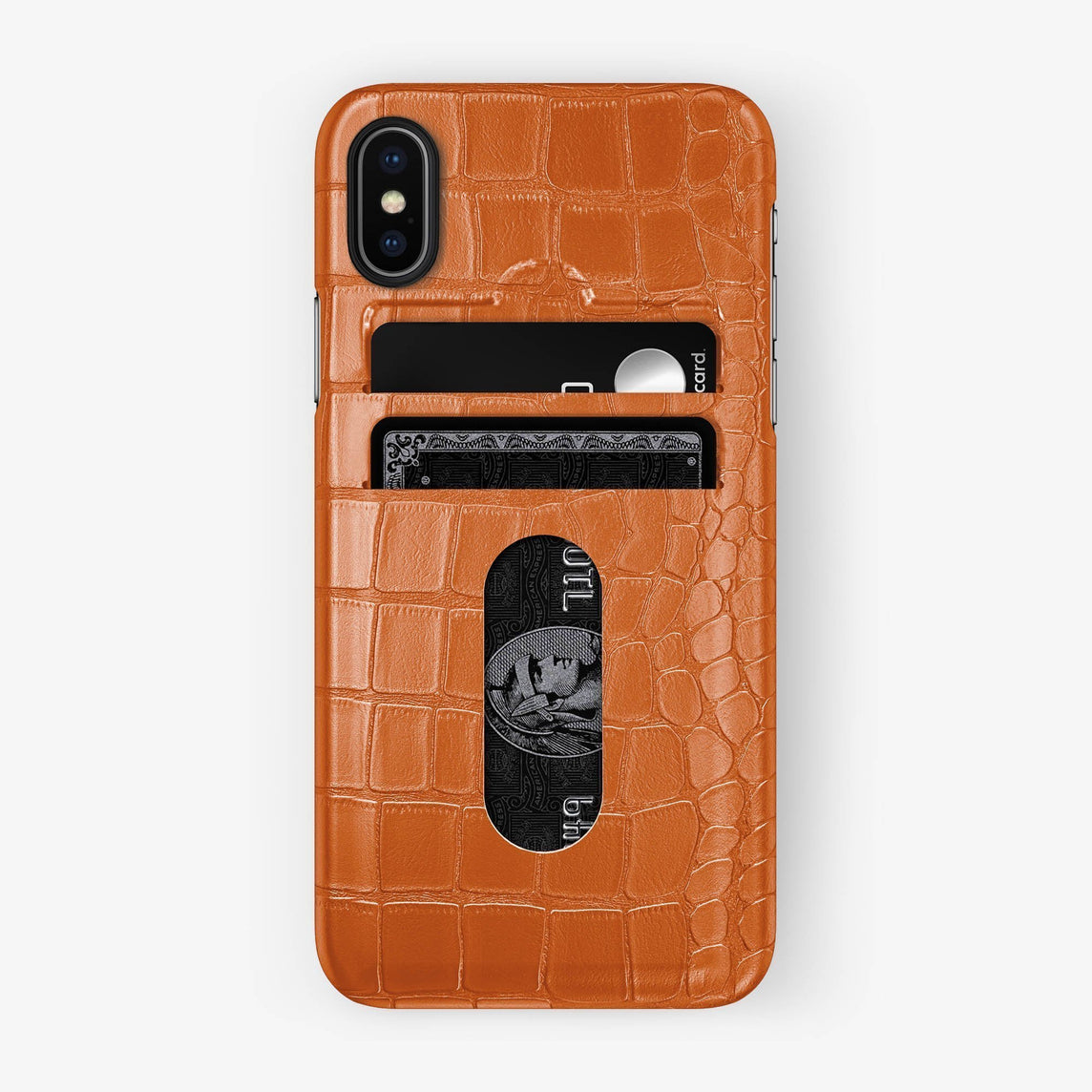 Alligator Card Holder Case iPhone Xs Max | Orange - Black - Hadoro