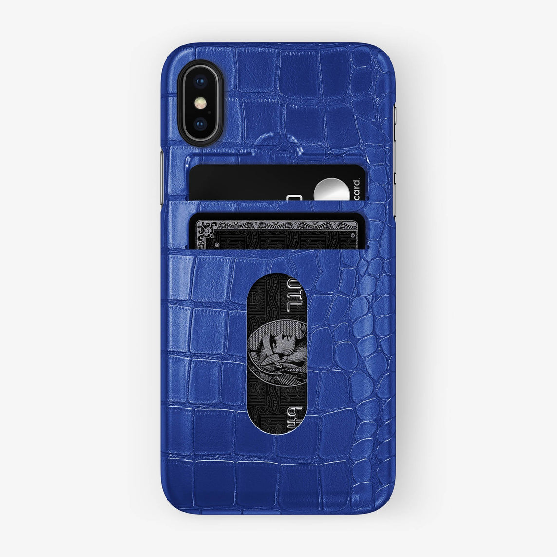Alligator Card Holder Case iPhone X/Xs | Peony Blue - Black with-personalization