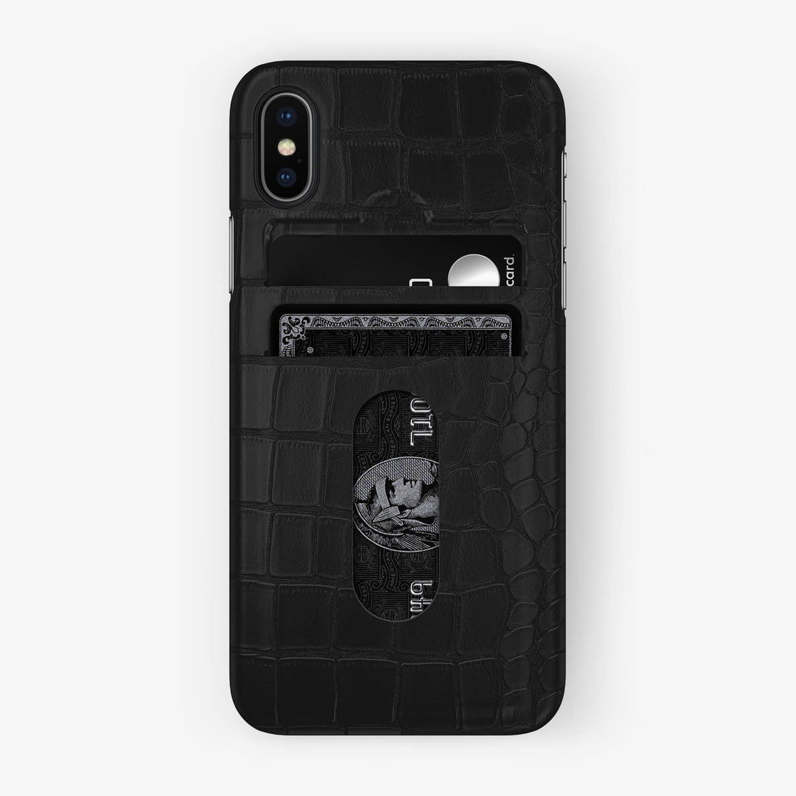 Alligator Card Holder Case iPhone X/Xs | Phantom Black - Black with-personalization