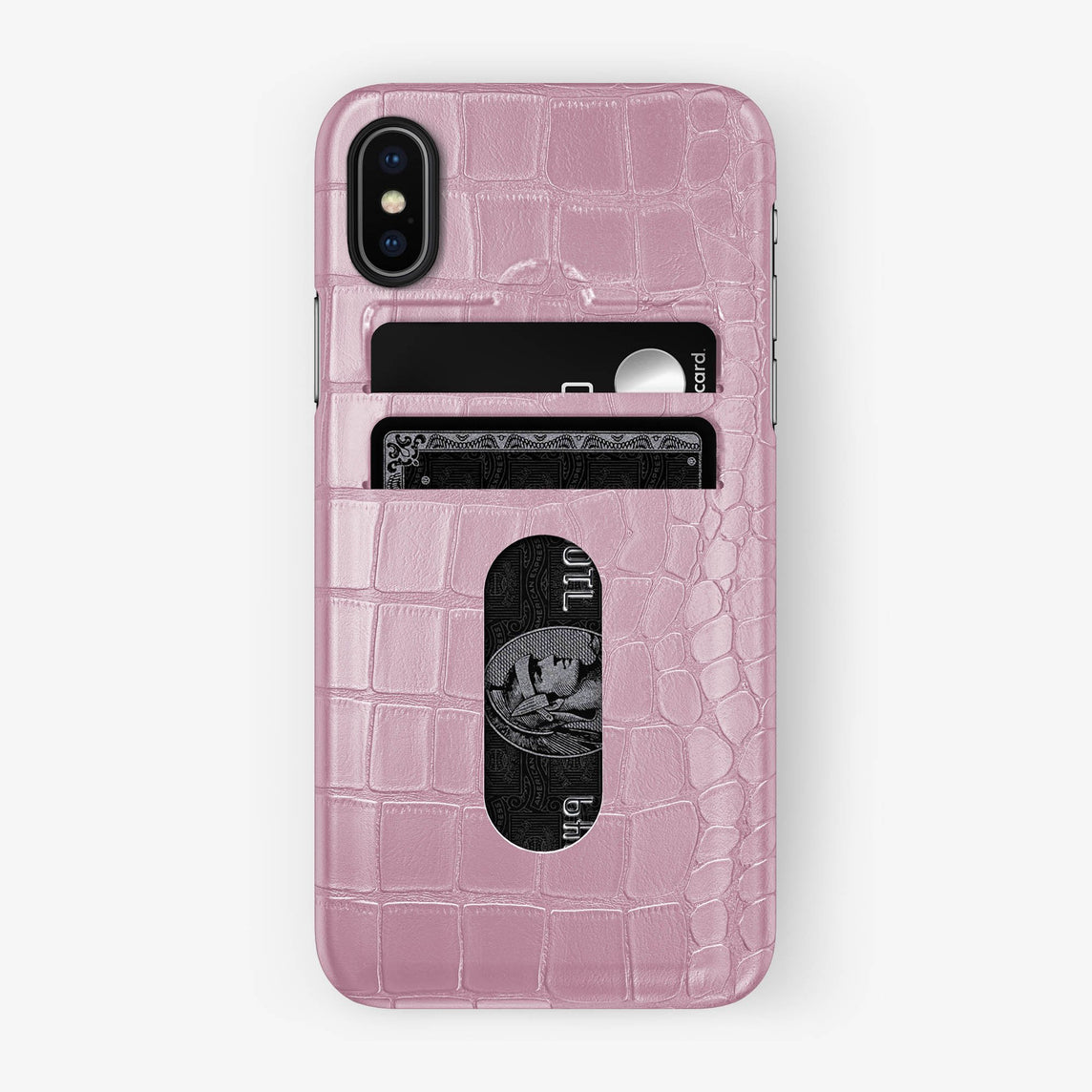 Alligator Card Holder Case iPhone Xs | Pink - Black with-personalization