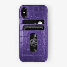 Alligator Card Holder Case iPhone X/Xs | Purple - Black - Hadoro