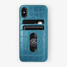 Alligator Card Holder Case iPhone X/Xs | Teal - Black with-personalization