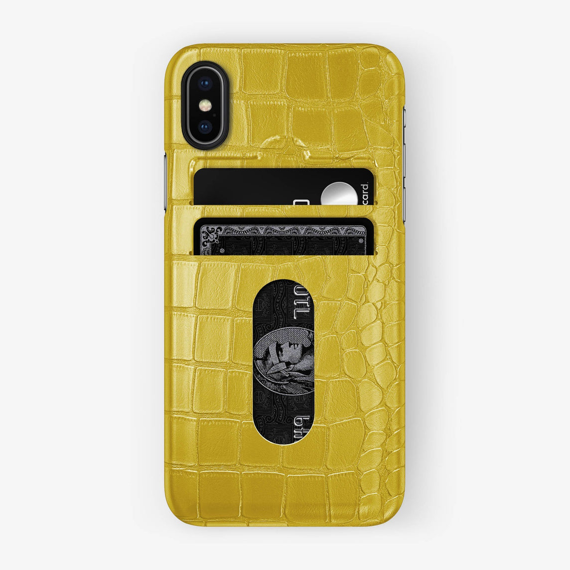 Alligator Card Holder Case iPhone Xs | Yellow - Black with-personalization