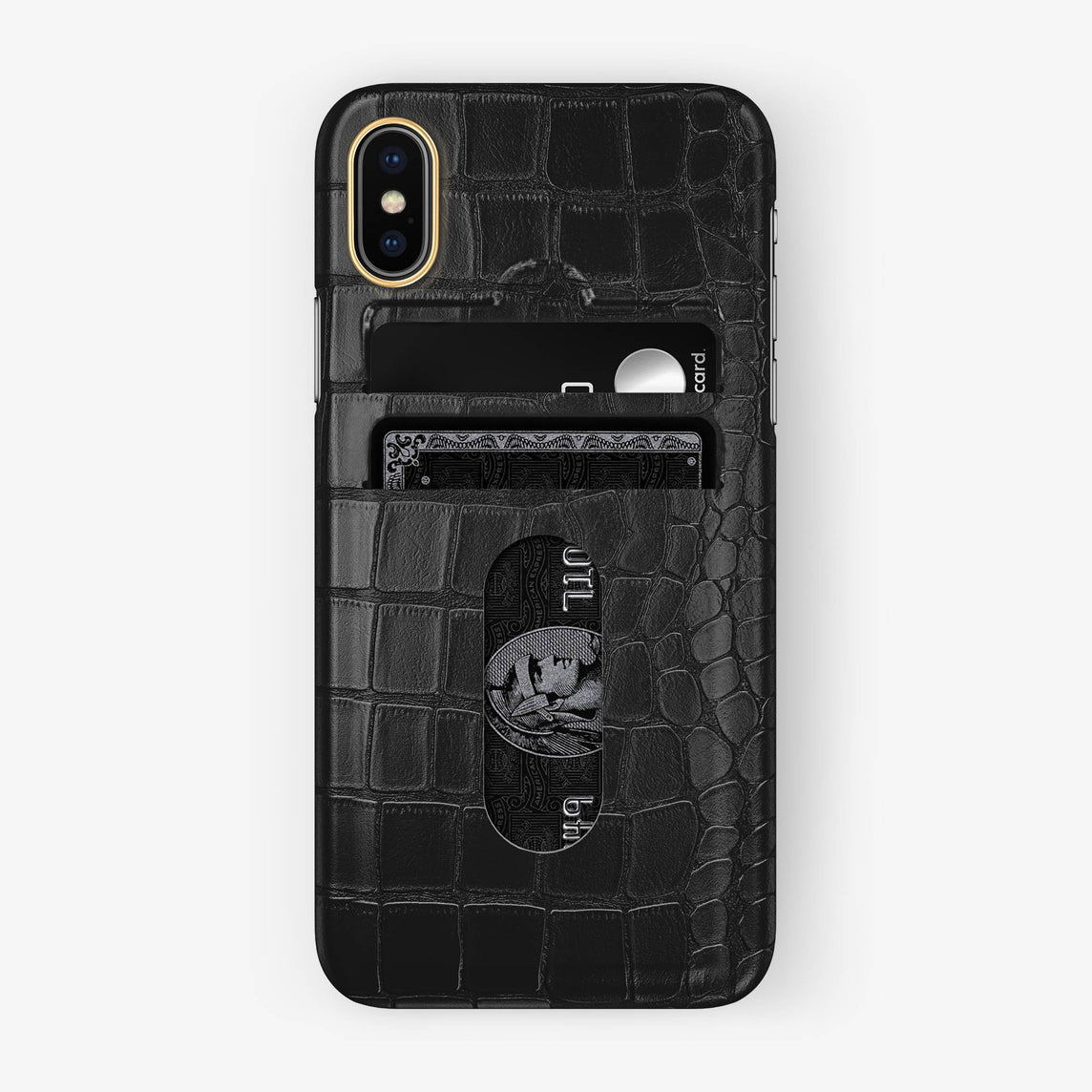 Alligator Card Holder Case iPhone X/Xs | Black - Yellow Gold with-personalization
