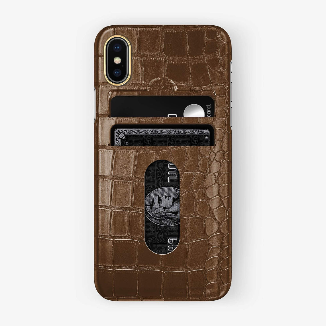 Alligator Card Holder Case iPhone Xs Max | Brown - Yellow Gold