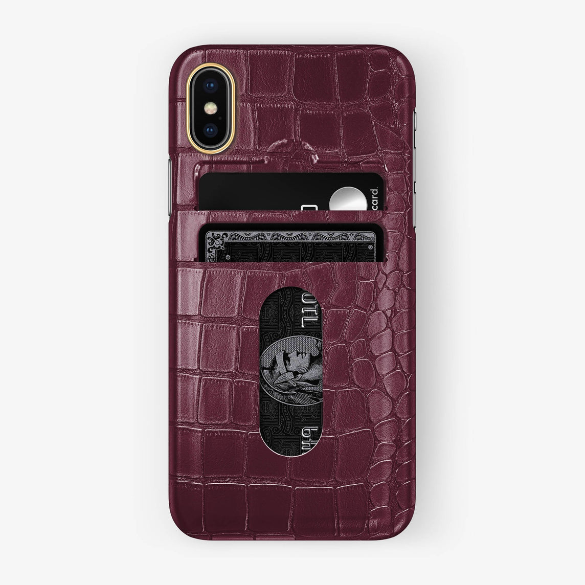Alligator Card Holder Case iPhone X/Xs | Burgundy - Yellow Gold with-personalization