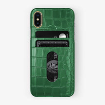 Alligator Card Holder Case iPhone X/Xs | Green - Yellow Gold - Hadoro