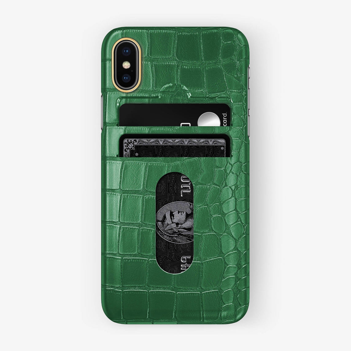 Alligator Card Holder Case iPhone X/Xs | Green - Yellow Gold with-personalization