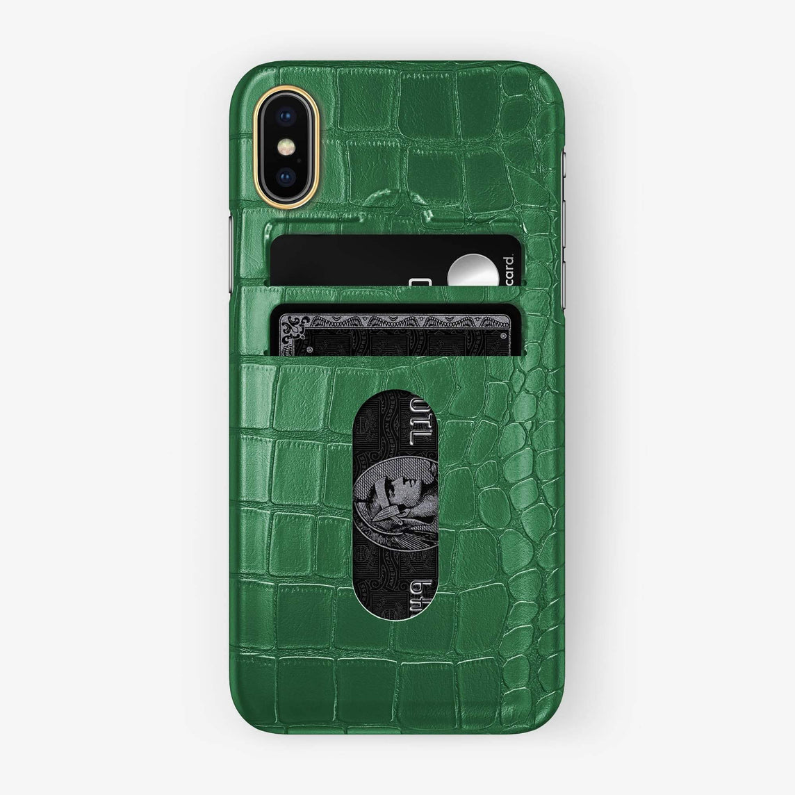 Alligator Card Holder Case iPhone Xs Max | Green - Yellow Gold - Hadoro