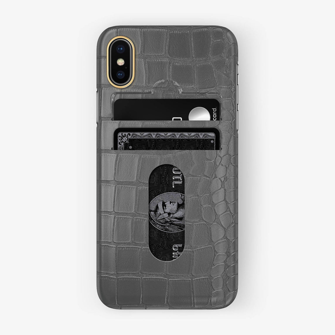 Alligator Card Holder Case iPhone X/Xs | Grey - Yellow Gold with-personalization
