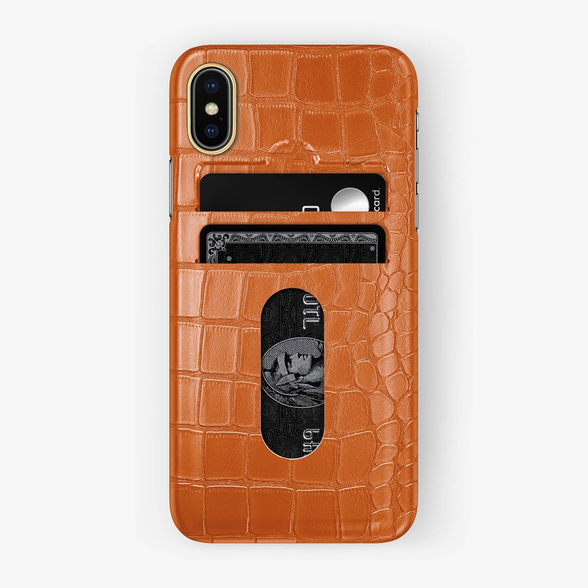 Alligator Card Holder Case iPhone Xs | Orange - Yellow Gold with-personalization