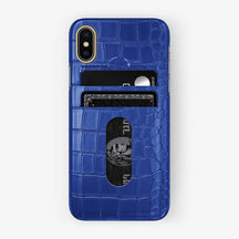 Alligator Card Holder Case iPhone X/Xs | Peony Blue - Yellow Gold with-personalization
