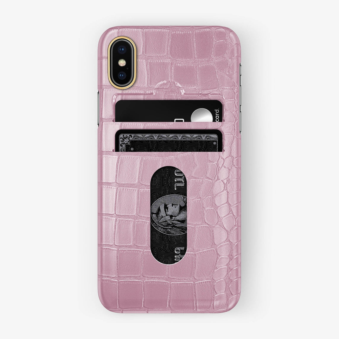 Alligator Card Holder Case iPhone Xs | Pink - Yellow Gold - Hadoro