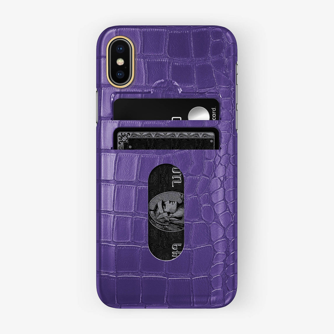 Alligator [iPhone Card Holder Case] [model:iphone-x-case] [colour:purple] [finishing:yellow-gold] - Hadoro