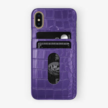 Alligator Card Holder Case iPhone X/Xs | Purple - Yellow Gold with-personalization