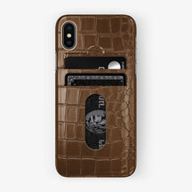 Alligator Card Holder Case iPhone X/Xs | Brown - Rose Gold with-personalization