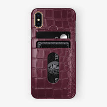 Alligator Card Holder Case iPhone X/Xs | Burgundy - Rose Gold with-personalization