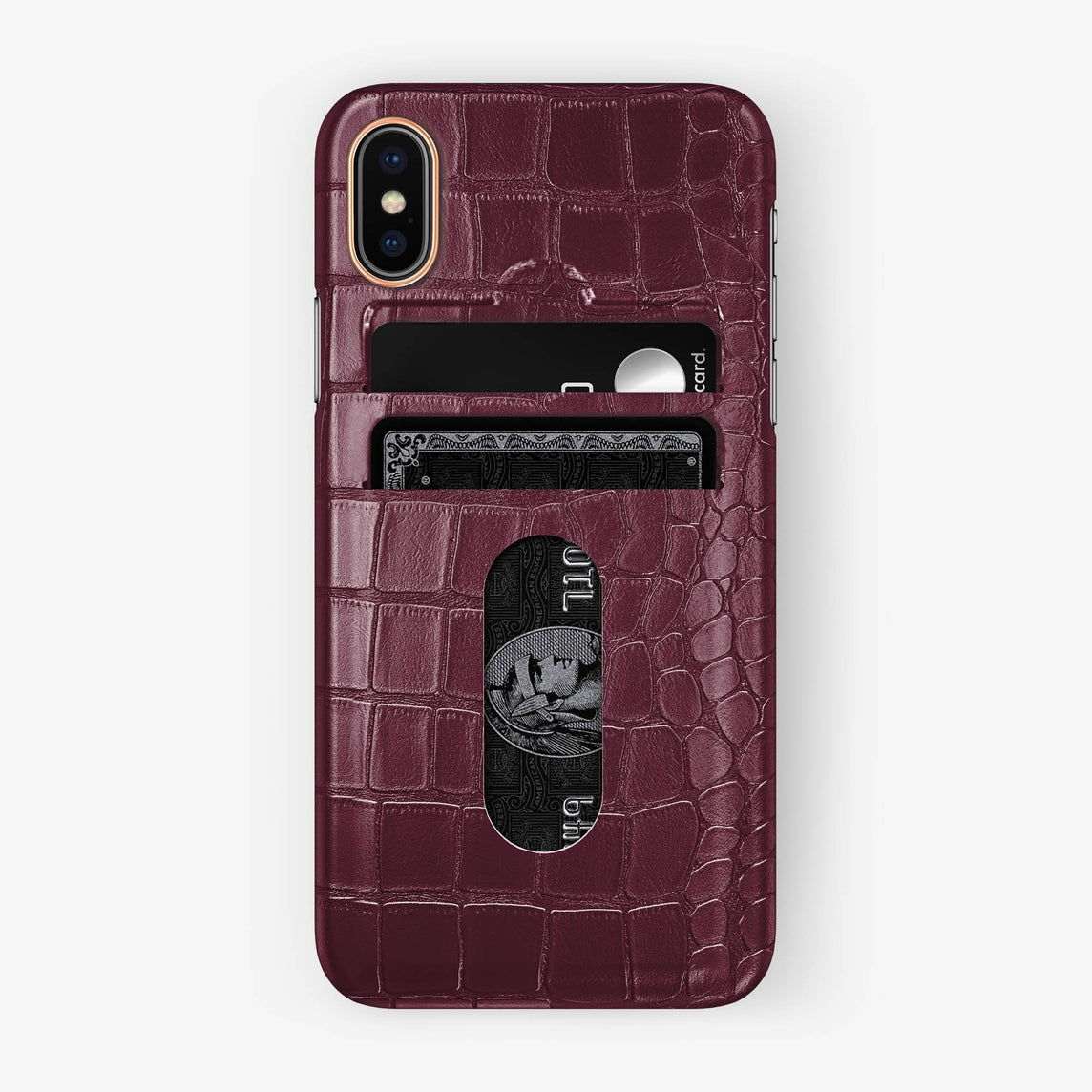 Alligator Card Holder Case iPhone X/Xs | Burgundy - Rose Gold - Hadoro