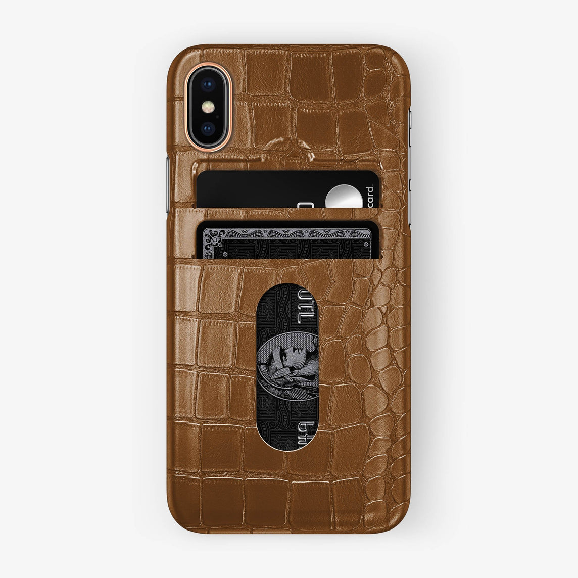 Alligator Card Holder Case iPhone X/Xs | Cognac - Rose Gold with-personalization