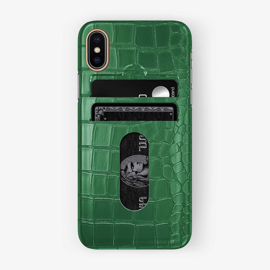 Alligator Card Holder Case iPhone Xs Max | Green - Rose Gold - Hadoro