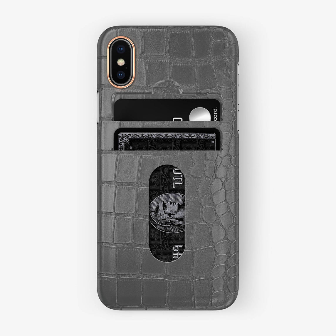 Alligator Card Holder Case iPhone X/Xs | Grey - Rose Gold with-personalization