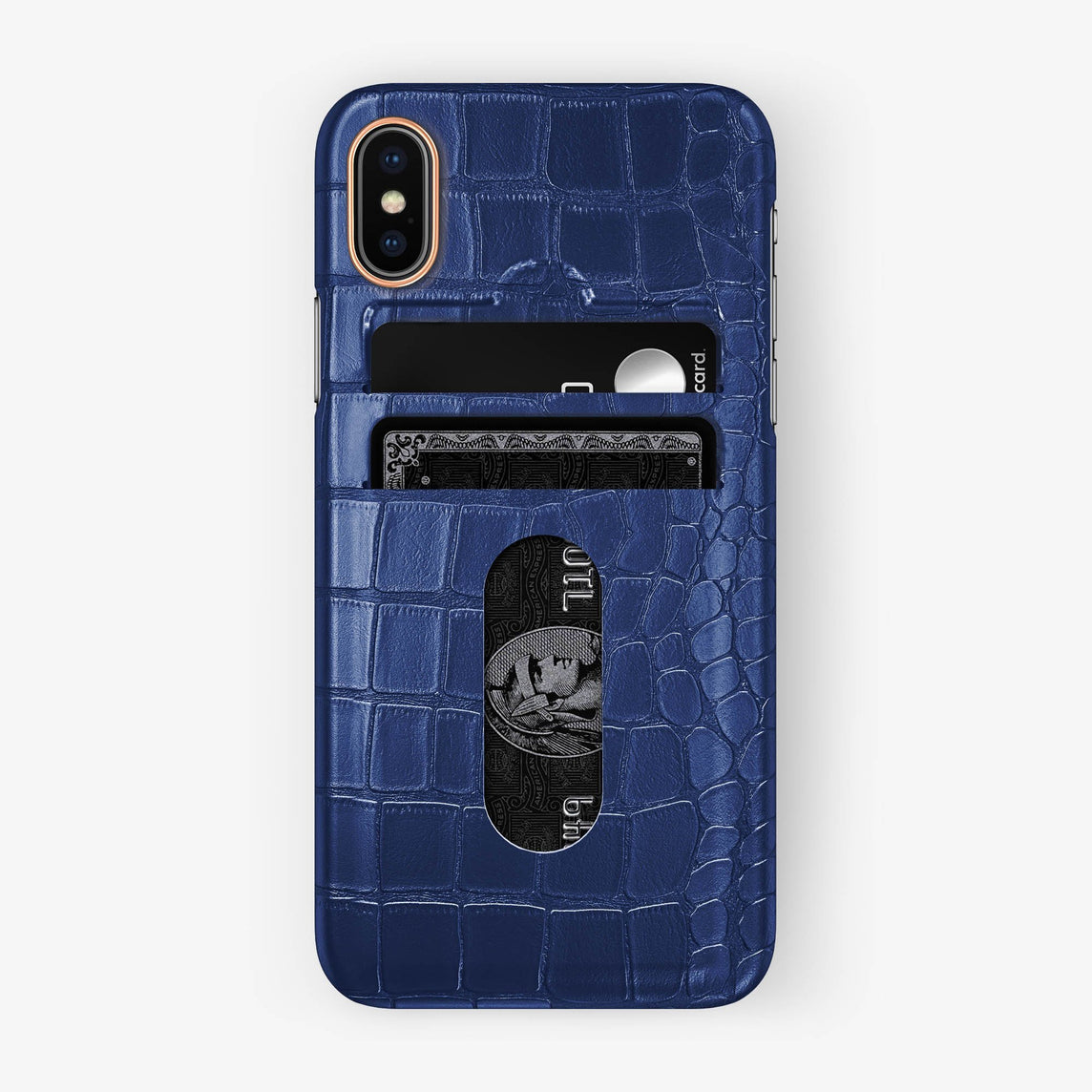 Alligator Card Holder Case iPhone X/Xs | Navy Blue - Rose Gold - Hadoro