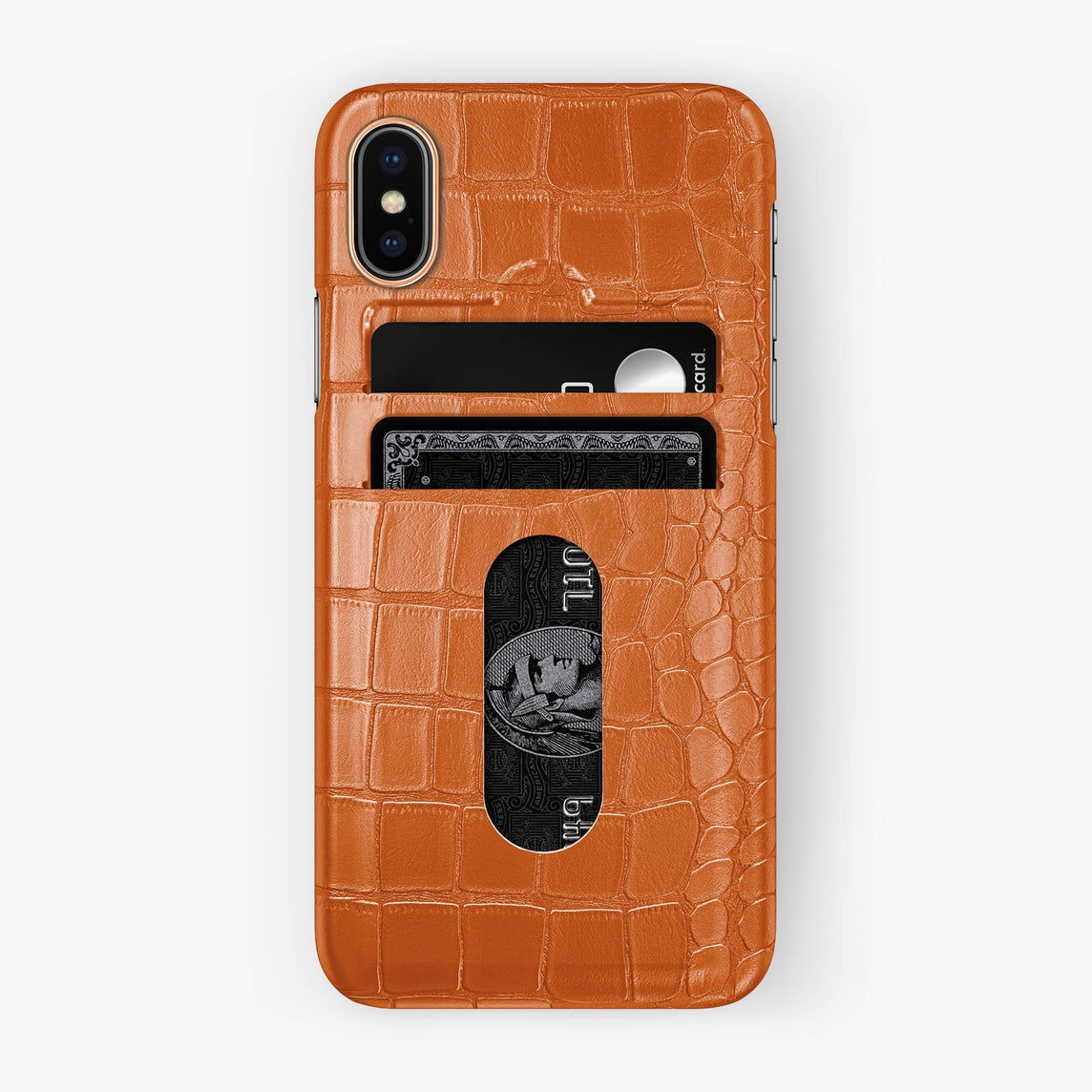 Alligator Card Holder Case iPhone Xs | Orange - Rose Gold with-personalization