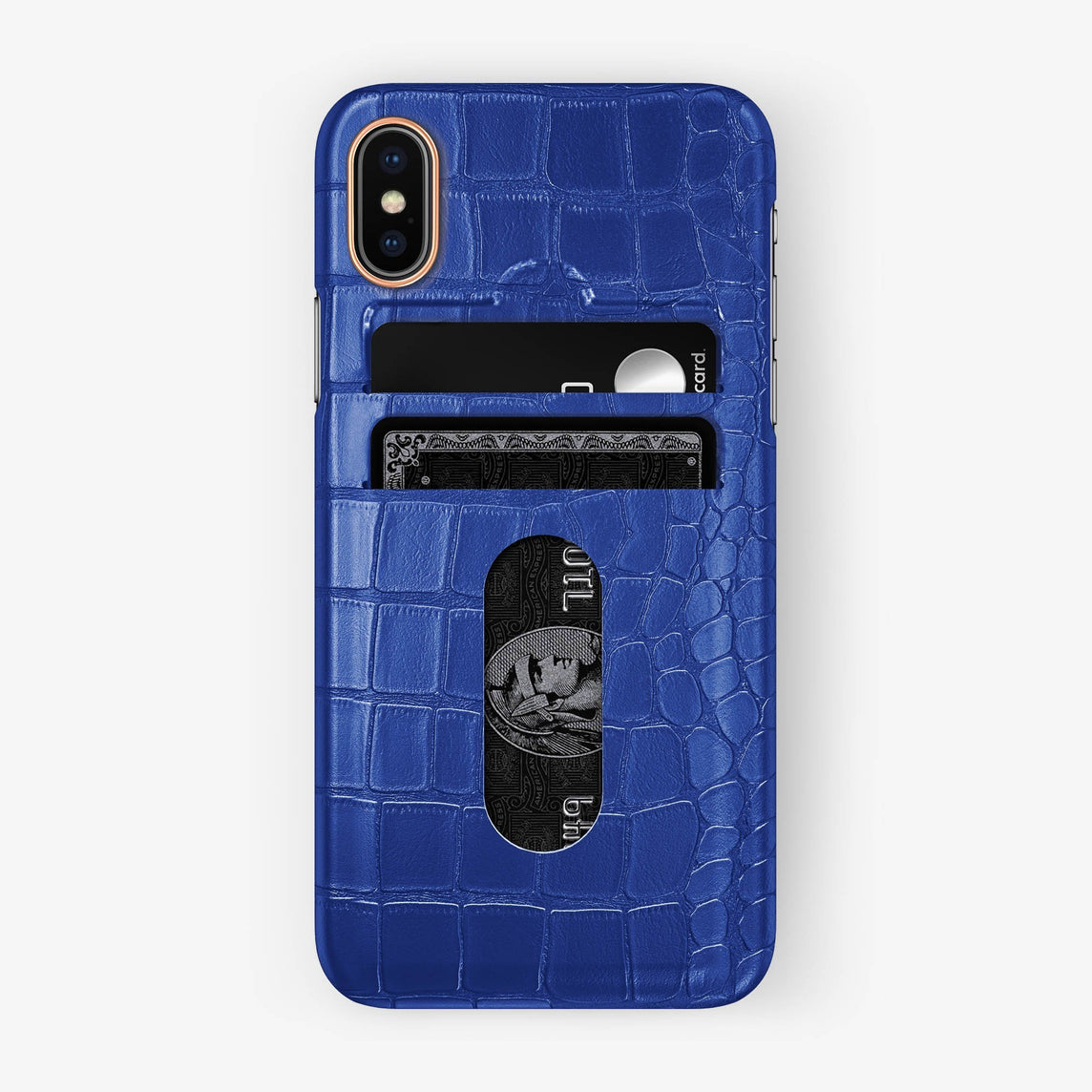 Alligator Card Holder Case iPhone X/Xs | Peony Blue - Rose Gold with-personalization