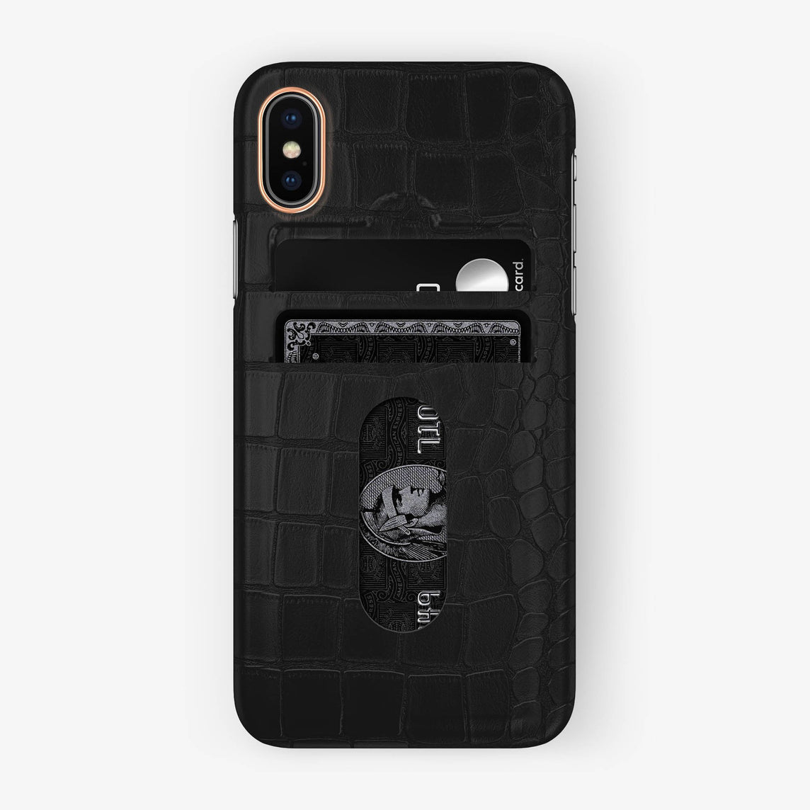 Alligator Card Holder Case iPhone X/Xs | Phantom Black - Rose Gold - Hadoro