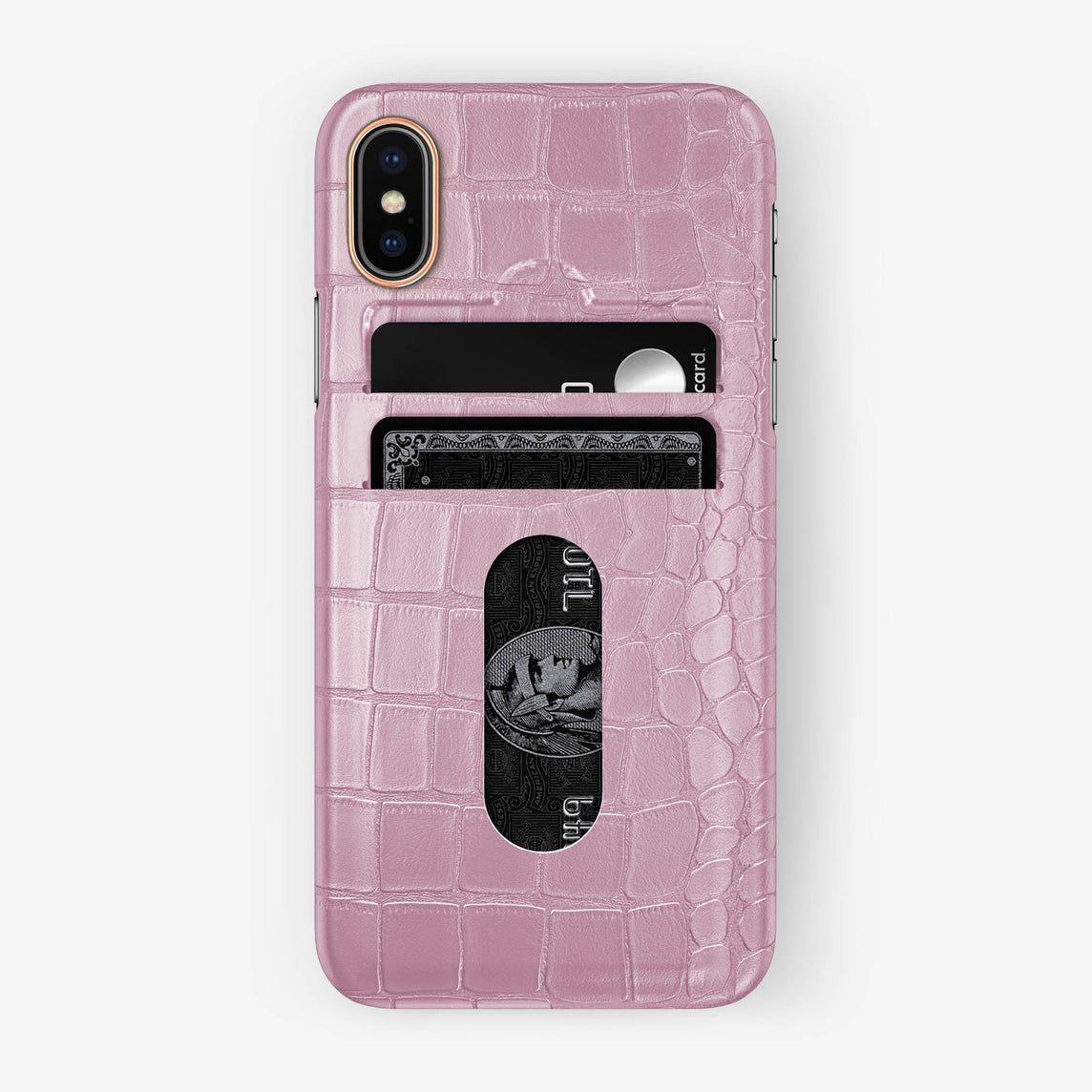 Alligator Card Holder Case iPhone Xs | Pink - Rose Gold with-personalization