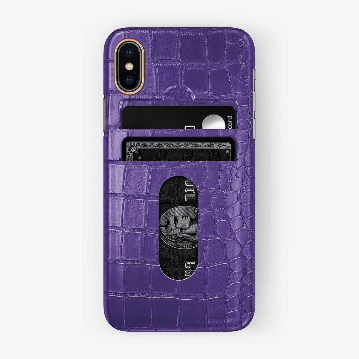 Alligator Card Holder Case iPhone Xs Max | Purple - Rose Gold - Hadoro