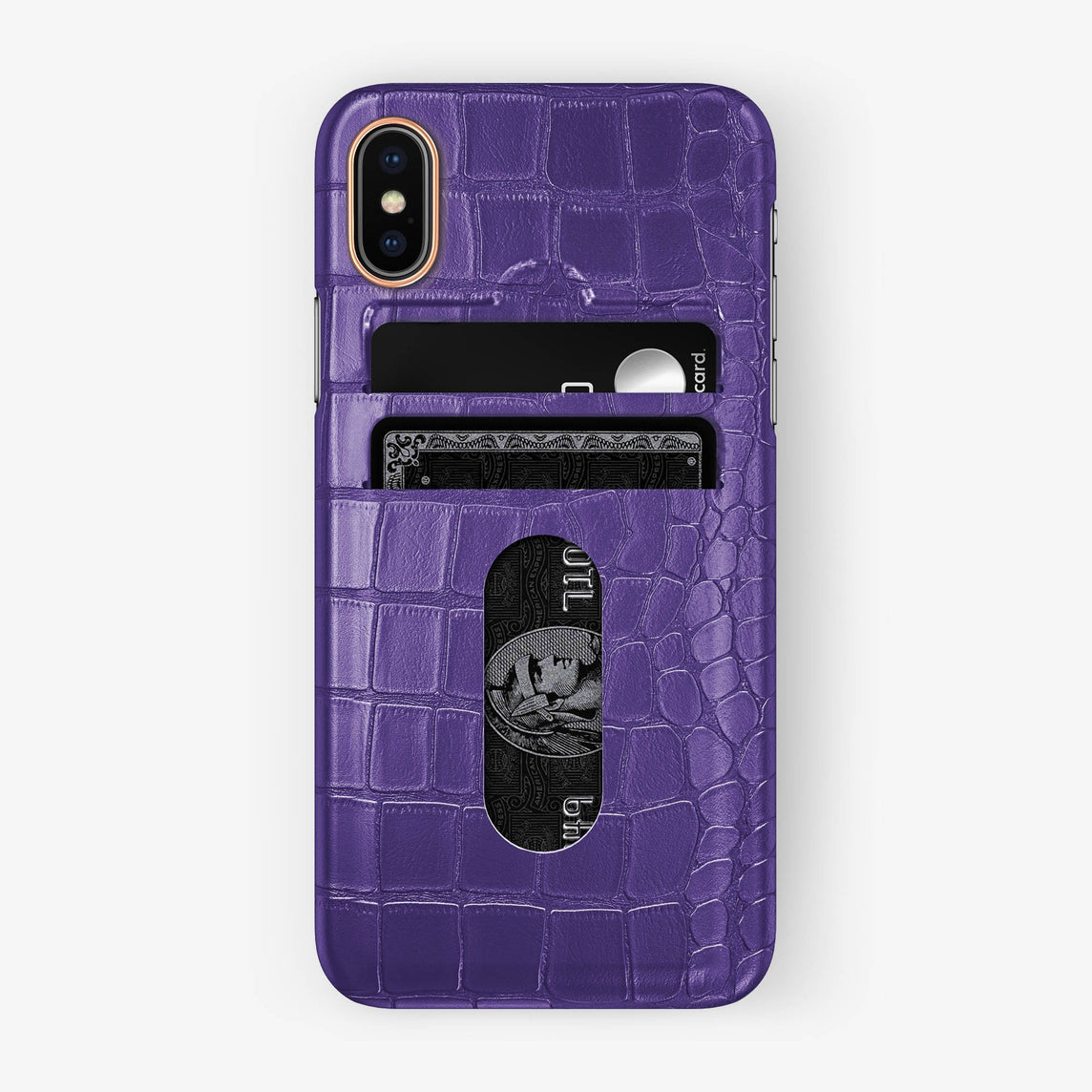 Alligator Card Holder Case iPhone X/Xs | Purple - Rose Gold - Hadoro