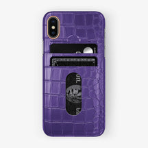 Alligator Card Holder Case iPhone X/Xs | Purple - Rose Gold with-personalization