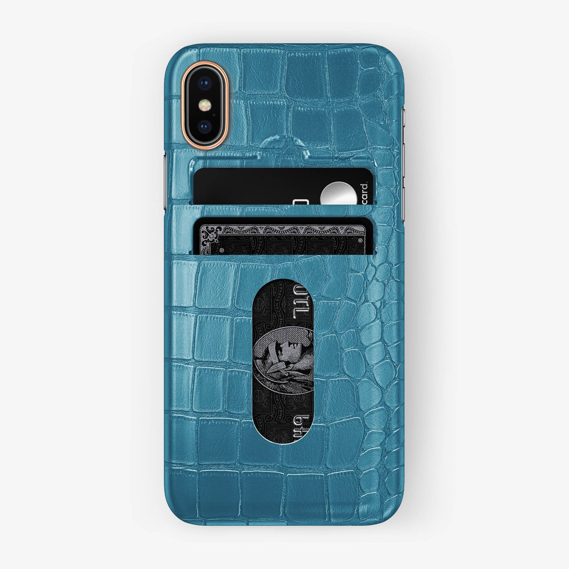 Alligator Card Holder Case iPhone X/Xs | Teal - Rose Gold with-personalization