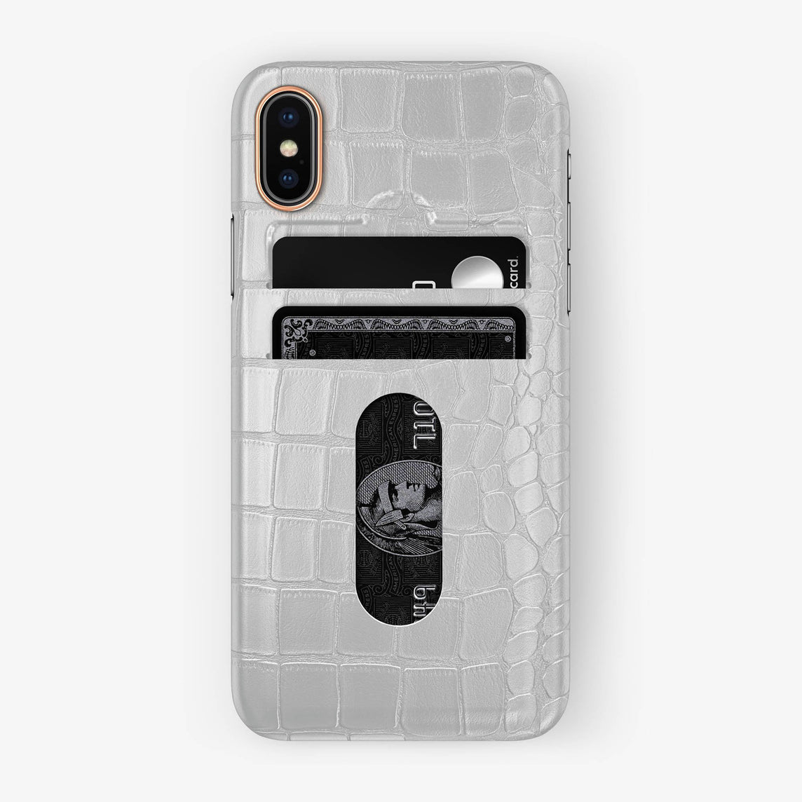 Alligator Card Holder Case iPhone X/Xs | White - Rose Gold with-personalization